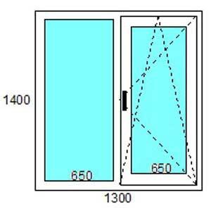 Двустворчатое пластиковое окно 1300*1400