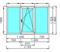 Окно из пластика 2100*1400